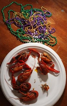 07March2010   Beads and crayfish were featured items during the 5th annual charity Gumbo Cook-off at Louie's  Sunday afternoon. (John A. Lacko / Special to the Gazette)