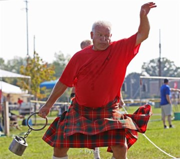 25August2012 Joe McPhie of Granger, Indiana throws the stone during the Heavy Events at the twentieth annual Kalamazoo Scottish Festival Saturday morning at the Kalamazoo County Expo Center. ( John A. Lacko / Special to the Gazette)